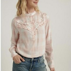 Lucky Brand Elsa Plaid Popover Top Pink & White